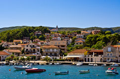 Port of Jelsa town on Hvar island, Croatia Stock Photos