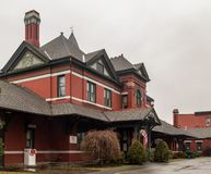 Port Jervis, NY / United States - Mar 7, 2017: a landscape view of the former Port Jervis train station of the Erie Railroad stock photography
