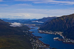 Port of Juneau from above. Juneau, often described as America's most unusual state capital, is the only center of U.S. government with no roads leading into or Stock Images
