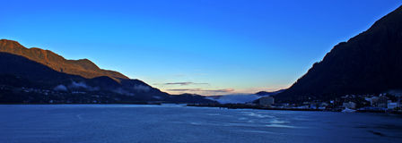 Port of Juneau panorama. Juneau, often described as Americas most unusual state capital, is the only center of U.S. government with no roads leading into or out Royalty Free Stock Photo
