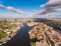 Port Kaliningrad, odgórny widok Zdjęcia Royalty Free