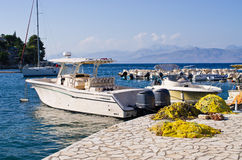 Port in Kassiopi village - Corfu, Greece Royalty Free Stock Photos