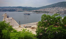Panorama of the Port city Kavala, landmark attraction in Greece. Summer seascape Royalty Free Stock Image