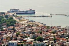 Port city Kavala, Greece. Summer seascape Stock Photos