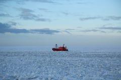 Port Kemi harbor pilot in frozen Baltic Sea near Kemi, Finland Stock Photography