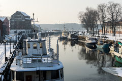 Port of Klaipeda city in winter, Lithuania Royalty Free Stock Photos