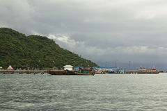Port of Ko Si Chang, Thailand. Looking at the beach, summer Stock Images