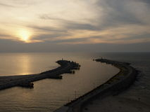 Port of Kolobrzeg. The entrance to the harbor and breakwater in Kolobrzeg seen in the evening from the tower of the lighthouse Royalty Free Stock Image