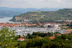 Port of Koper in Slovenia. Landscape with a view on the port of Koper in Slovenia Royalty Free Stock Photography