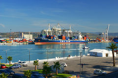 Port Of Koper, Slovenia. View of container ship and container cranes in Port Of Koper in Slovenia Royalty Free Stock Images