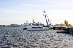 port of Kronstadt and standing on the RAID ships and boats, the Gulf of Finland, stock photo