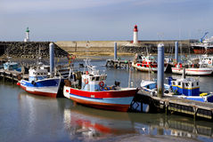 Port of La Cotiniere in France. With two lighthouses in the background. Region Poitou-Charentes, department Charente Maritime stock photo
