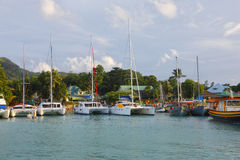 Port in La Digue, Seychelles Royalty Free Stock Images