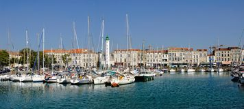 Port of La Rochelle in France. Panoramic port of La Rochelle in France, region Charente-Poitou royalty free stock photo