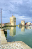 The port of La Rochelle. View on the towers of the port of La Rochelle in France Stock Photo