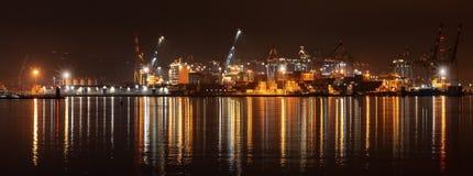 Port of La Spezia at night - Liguria Italy. Port and commercial dock of La Spezia at night. Liguria, Italy, Europe royalty free stock photos