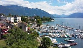 Port by Lake Geneva. View of Port of La Tour-de-Peilz by Lake Geneva Royalty Free Stock Image