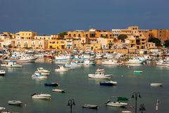 Port of Lampedusa. LAMPEDUSA, ITALY - AUGUST, 05: View of the Lampedusa old port on August 05, 2018 royalty free stock image