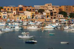 Port of Lampedusa. LAMPEDUSA, ITALY - AUGUST, 05: View of the Lampedusa old port on August 05, 2018 stock photo
