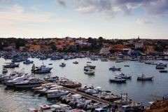 Port of Lampedusa. LAMPEDUSA, ITALY - AUGUST, 05: View of the Lampedusa old port on August 05, 2018 stock images