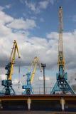 Port large cranes Royalty Free Stock Image