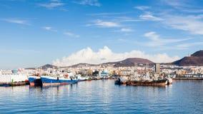 Port Las Palmas de Gran Canaria. Ships are pictured docked in port Las Palmas de Gran Canaria, Spain Stock Images