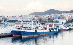 Port Las Palmas de Gran Canaria. Ships are pictured docked in port Las Palmas de Gran Canaria, Spain Stock Photo