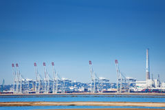 Port of Le Havre with portal cranes at sunny day Royalty Free Stock Images