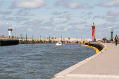 Port in Leba. View of the harbor in Leba Royalty Free Stock Image
