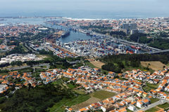 Port of Leixoes in Matosinhos, Porto, Portugal. Aerial view to the port of Leixoes in Matosinhos, Porto, Portugal royalty free stock photo