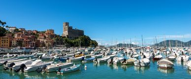 Port of Lerici Town - La Spezia - Italy. The port of Lerici, typical seaside town in Liguria in the Golfo dei Poeti Gulf of poets or Gulf of La Spezia in Italy Stock Image