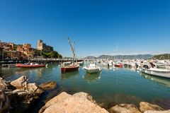 Port of Lerici Town - La Spezia - Italy. The port of Lerici, typical seaside town in Liguria in the Golfo dei Poeti Gulf of poets or Gulf of La Spezia in Italy Stock Photo