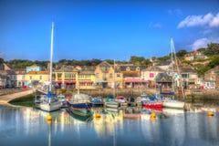 Port les Cornouailles Angleterre R-U de Padstow de pays occidental de l'anglais avec des bateaux dans HDR coloré brillant Photos stock