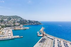 Port and lighthouse of Nice, France, viewed from the Castle Hill stock images