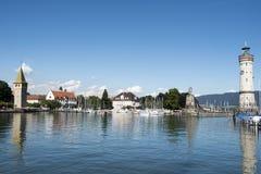 Port Lindau. Entrance Port Lindau, Lake Constance, with two Lighthouses Stock Photos