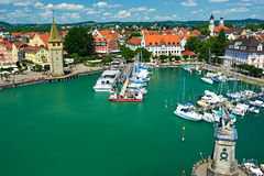 Port of Lindau, Lake Constance. Boats at port of Lindau harbour, Lake Constance, Bavaria, Germany Stock Photography