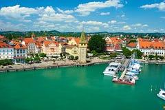 Port of Lindau, Lake Constance. Boats at port of Lindau harbour, Lake Constance, Bavaria, Germany Stock Image