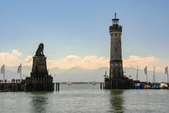 The port of Lindau. On the lake of Constance, Bodensee, Germany Stock Photo