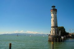 The port of Lindau. On the lake of Constance, Bodensee, Germany Royalty Free Stock Photo