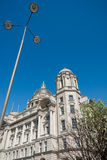Port of Liverpool Building. An abstract angle of the Port of Liverpool Building in Liverpool with modern street lamp Royalty Free Stock Photography