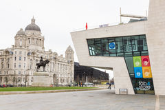 Port of Liverpool Building and Beatles Store in the Pier Head Royalty Free Stock Images