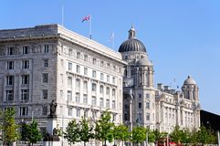 Port of Liverpool building and Cunard Building. Two of  The Three Graces consisting of the Port of Liverpool Building and the Cunard Building, Liverpool Stock Photo