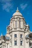 Port of Liverpool Building. Dome of the Port of Liverpool Building - One of the Three Graces at Pier Head, Liverpool Royalty Free Stock Image
