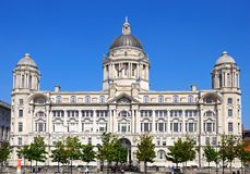 Port of Liverpool building. Port of Liverpool Building formerly known as the Mersey Docks and Harbour Board Office at Pier Head, Liverpool, Merseyside, England Royalty Free Stock Images
