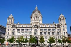 Port of Liverpool building. Port of Liverpool Building formerly known as the Mersey Docks and Harbour Board Office at Pier Head, Liverpool, Merseyside, England Royalty Free Stock Photo