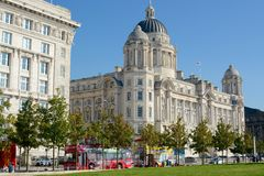 Port of Liverpool building. The Port of Liverpool building and part of the Cunard building at Liverpool docks, Liverpool, Merseyside, UK Stock Photography