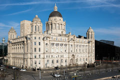 Port of Liverpool Building, Pier Head, Liverpool, England. Grade II* listed building. It is sited at the Pier Head and along with the neighbouring Liver Building Royalty Free Stock Photography