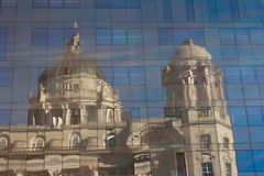 Port of Liverpool building reflected. In all glass building Stock Image