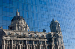 Port of Liverpool building reflected. In all glass building Stock Images