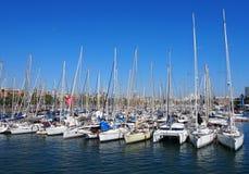 Port of llança. Boats in port of Catalonia Stock Photos